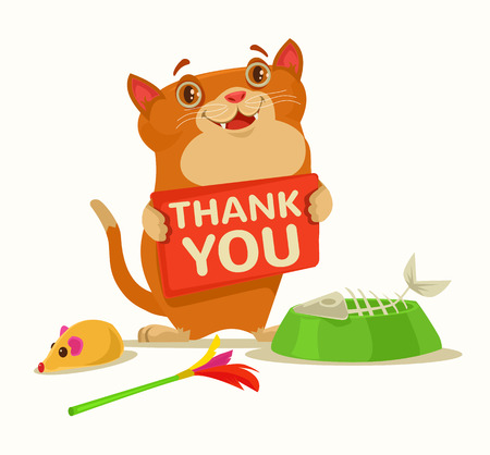 Happy cat character hold plate with thank you words. Vector flat cartoon illustration