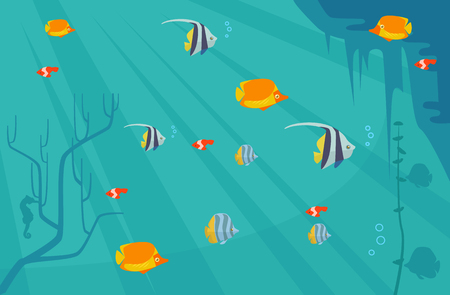 Underwater with fish. Vector flat cartoon illustration