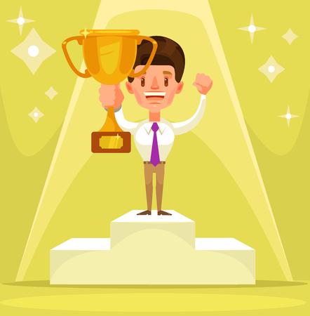 victor: Businessman winner character standing on pedestal. Vector flat cartoon illustration Illustration