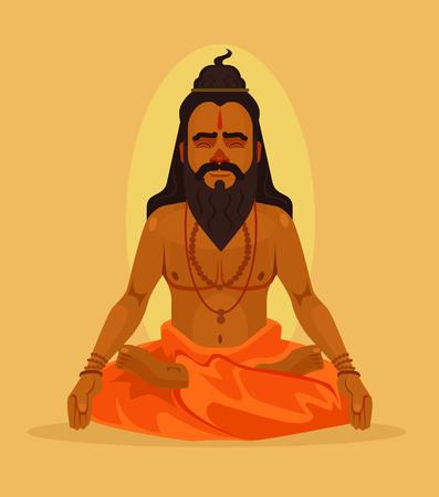 Meditating yogi man character. Vector flat cartoon illustration 일러스트
