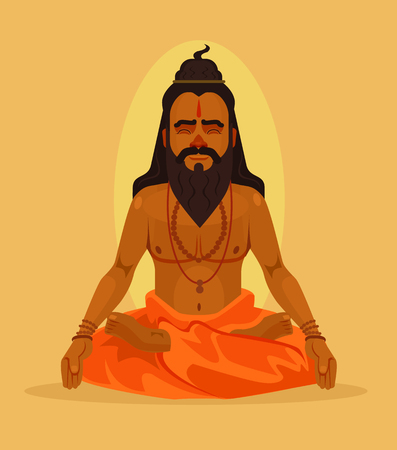 Meditating yogi man character. Vector flat cartoon illustration Иллюстрация