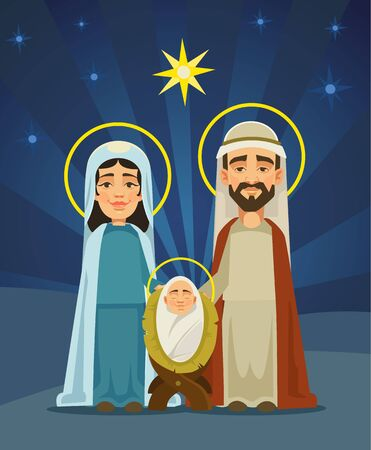 creche: Nativity scene. Holy family. Birth of Christ. Vector flat cartoon illustration