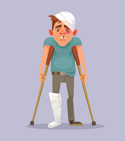 Sad man character with broken leg. Vector flat cartoon illustration Illustration