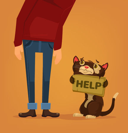 Cat character need home and help. Vector flat cartoon illustration Иллюстрация