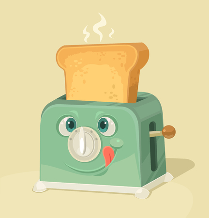 toast: Cute toaster character and toasted bread. Vector flat cartoon illustration