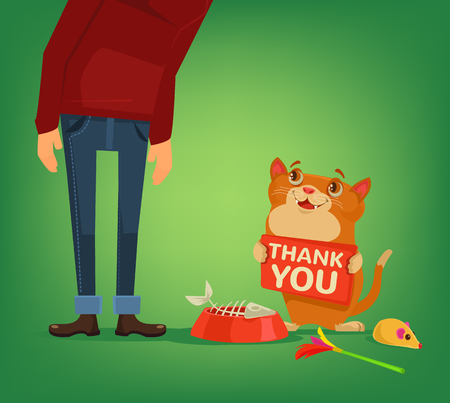 Happy cat character hold plate with thank you words to owner. Vector flat cartoon illustration