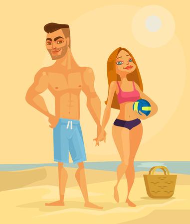 Paar minnaarskarakters op het strand. Vector platte cartoon afbeelding