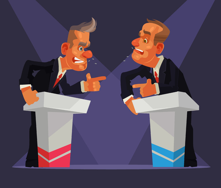 Political debate. Two speakers character. Vector flat cartoon illustration