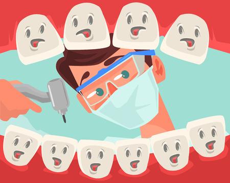 carácter dentista buscando en la boca abierta del paciente. Vector ilustración de dibujos animados plana