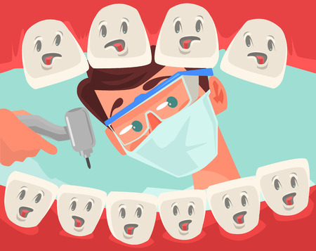 Dentist character looking into open mouth of patient. Vector flat cartoon illustration Stock Illustratie