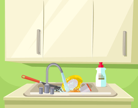 unwashed: Sink full of dirty dishes. Vector flat cartoon illustration Illustration