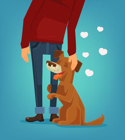 Netter Hund Charakter umarmen seinem Besitzer. Vector flache Karikatur Illustration