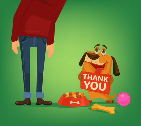 Happy dog ??character hold plate with thank you words to owner. Vector flat cartoon illustration Illustration