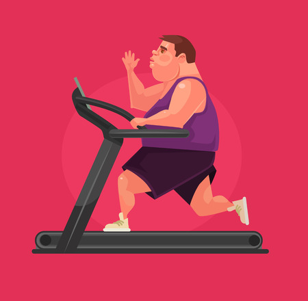 Fat man character running on treadmill. Vector flat cartoon illustration