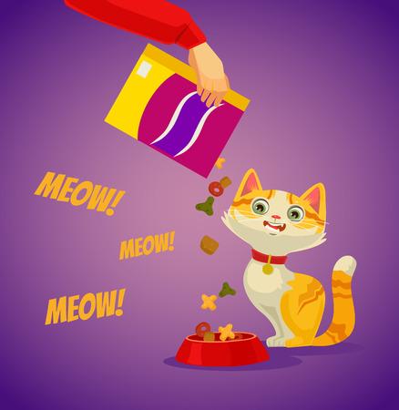 Host character feeding his cat. Vector flat cartoon illustration