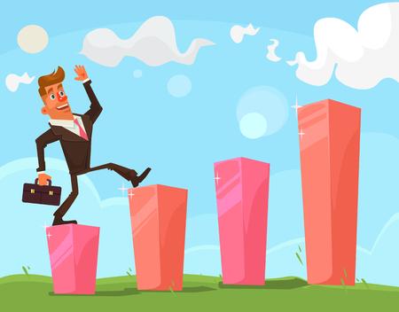 Successful businessman character. Vector flat cartoon illustration