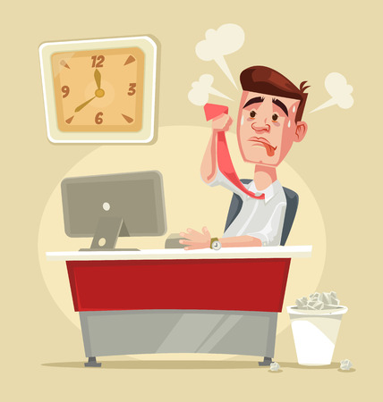 Busy stressful office worker character. Vector flat cartoon illustration