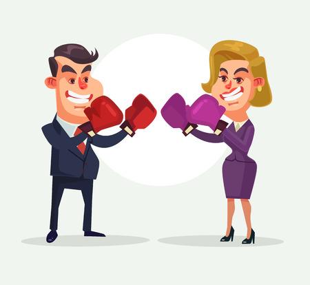 Businessman fighting against businesswoman character. Vector flat cartoon illustration Illustration