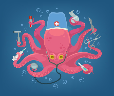 orthodontist: Cute octopus character hold medical instruments in his tentacles. Vector flat cartoon illustration