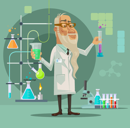 Old scientist character. Vector flat cartoon illustration