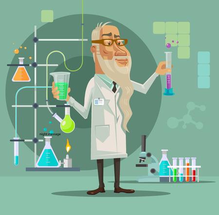 bureta: Viejo carácter científico. Vector ilustración de dibujos animados plana