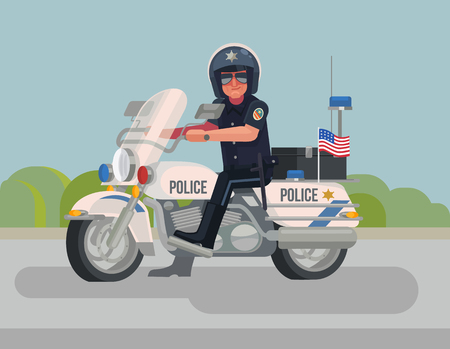 patrolman: Police officer character sitting on motorcycle. Vector flat cartoon illustration Illustration