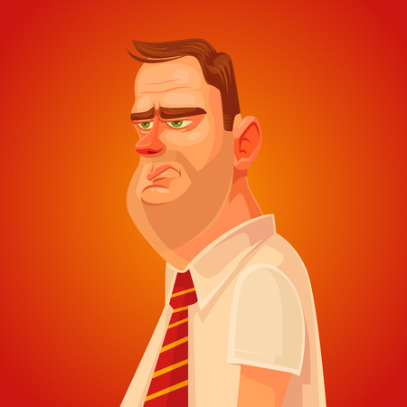 emotional stress: Annoyed office worker man character. Vector flat cartoon illustration