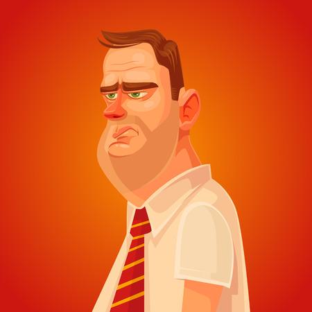 molesto: Molesto carácter del hombre trabajador de oficina. Vector ilustración de dibujos animados plana