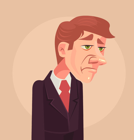 sad: Sad office worker man character. Vector flat cartoon illustration