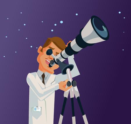 carácter científico mirando por el telescopio a las estrellas universo de galaxias. Vector ilustración de dibujos animados plana