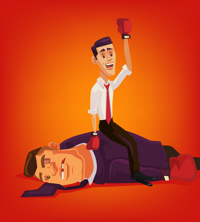 Small businessman character win big businessmen and corruption. Vector flat cartoon illustration Illustration