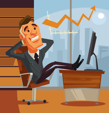 Successful relaxing businessman character sitting with his feet on desk. Vector flat cartoon illustration Illustration