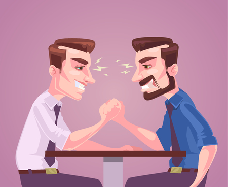 measured: Businessmen character measured by force with hand. Vector flat cartoon illustration