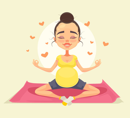 Pregnant woman character doing yoga. Vector flat cartoon illustration