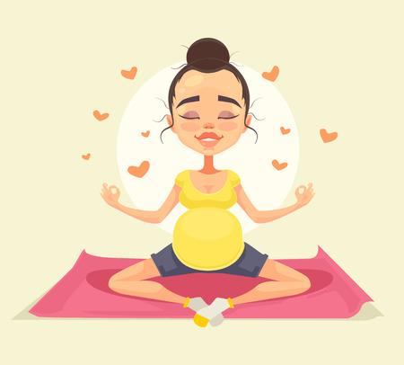 Schwangere Frau Charakter macht Yoga. Vector flache Karikatur Illustration Illustration