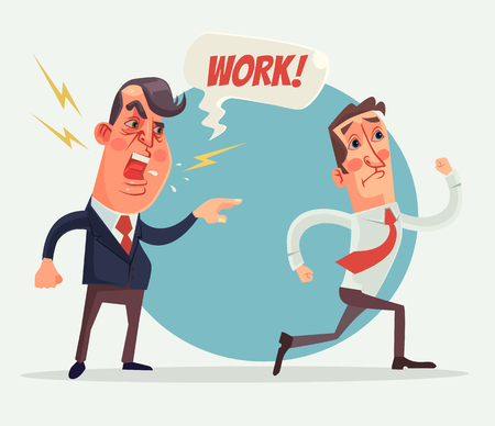 Angry boss and employer characters. Vector flat cartoon illustration