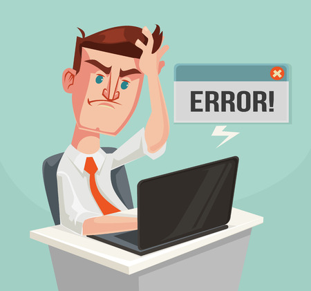 frustration: Error message and puzzled office worker character. Vector flat cartoon illustration