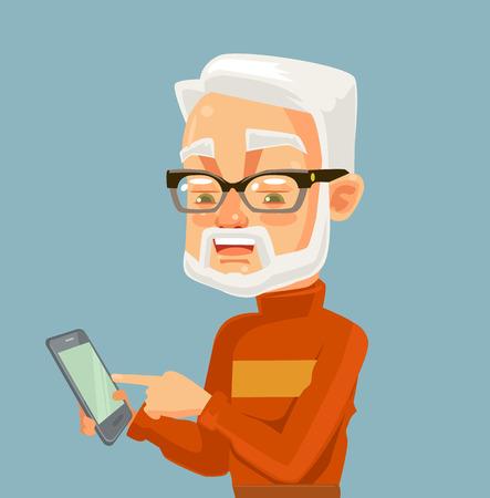 Elderly man character looking on smartphone and typing massage. Modern technologies. Vector flat cartoon illustration