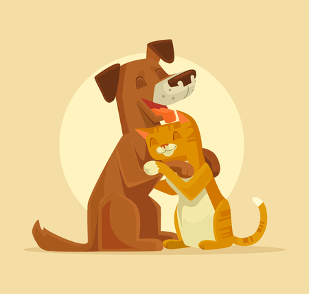 purebred: Cat and Dog characters best happy friends. Vector flat cartoon illustration Illustration