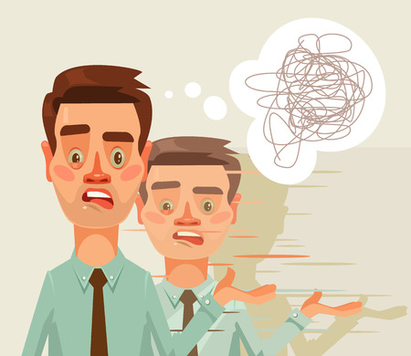 failed strategy: Confused puzzled thinking office worker man character. Split personality. Vector flat cartoon illustration Illustration