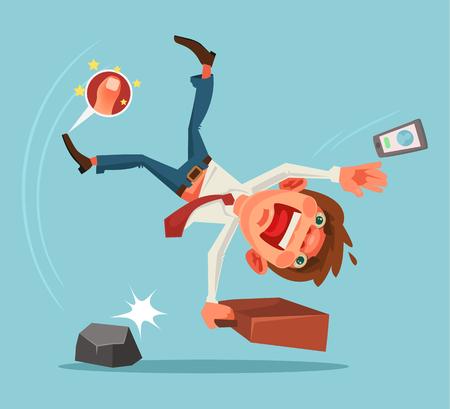 Falling unsuccessful man character. Vector cartoon illustration