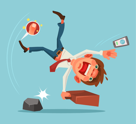 Falling unsuccessful man character. Vector cartoon illustration