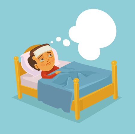 diseased: Man character having flu cold and lying in bed. Vector flat cartoon illustration