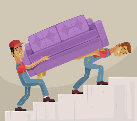 Two loader men characters mover sofa. Vector flat cartoon illustration