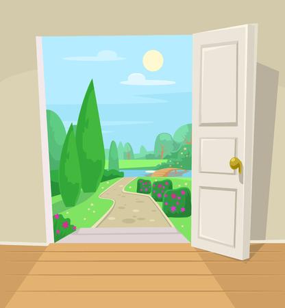 Porta aperta al giardino. Illustrazione cartoon vettoriale