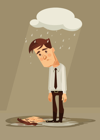 shame: Depressed sad office worker character. Vector flat cartoon illustration
