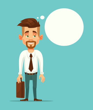 Office worker businessman thinking. Speech bubble. Vector flat cartoon illustration