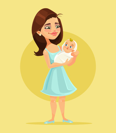 Mother character holds little child on hands. Vector flat cartoon illustration Illustration