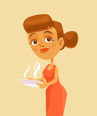 preparing food: Woman character holding hot bowl of soup. Vector flat cartoon illustration