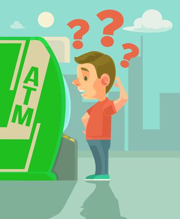 Man character try using ATM. flat cartoon illustration Illustration